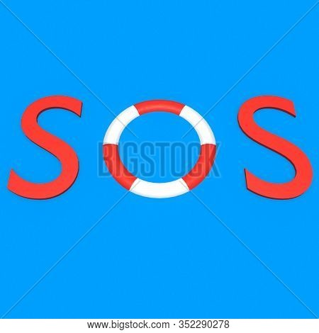 3d Illustration Of Sos Title Isolated On Ocean-blue Background, With A Lifbelt As The Letter In The