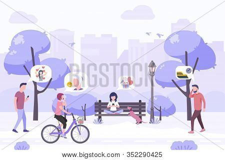 People Walking On The Urban Park Using Smartphones. Stock Vector. People And Mobile Technology Flat