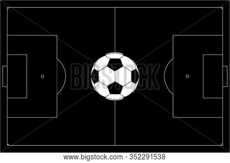 Soccer Ball On Football Pitch. Black Outline. Vector Illustration Isolated On White Background