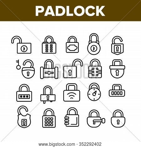 Padlock Security Tool Collection Icons Set Vector. Opened And Closed Padlock, Electronic Password An