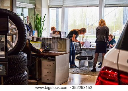 Kirov, Russia - May 07, 2019: Managers In Showroom Of Dealership Mercedes In Kirov