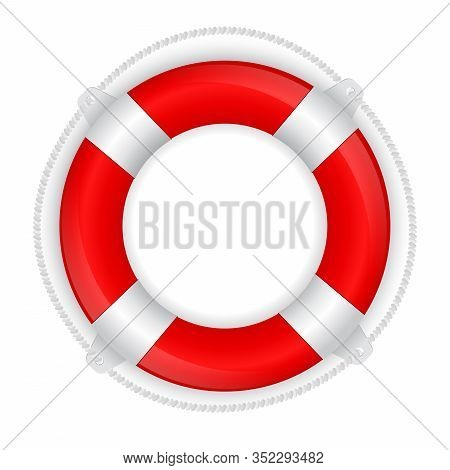 Life Saving Buoy. Red And White 3d Sign. Vector Illustration Isolated On White Background