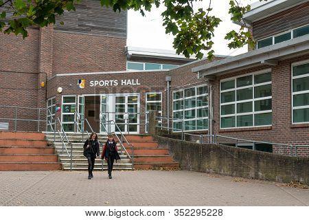 Brighton, England-22 November, 2019: The Sports Hall Of Secondary School For Children In Dorothy Str