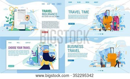 Landing Page Set For Travel Agency Offer Tours For Business, Family Trip On Vacation. Insurance Poli