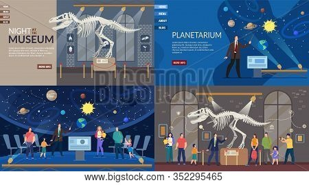 Planetarium And Ancient History Night Museum. Landing Page Responsive Design Set. New Exhibition Ope