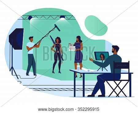 Movie Making Process Flat Vector Illustration. Director, Actress And Sound Engineer Cartoon Characte