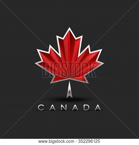 Coat Of Arms Of Canada Maple Leaf With 3d Effect, Patriotic Symbol For The Canadian National Poster