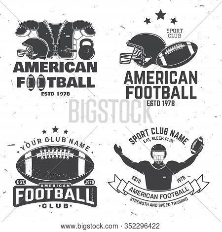 Set Of American Football Or Rugby Club Badge. Vector For Shirt, Logo, Print, Stamp, Tee, Patch. Vint