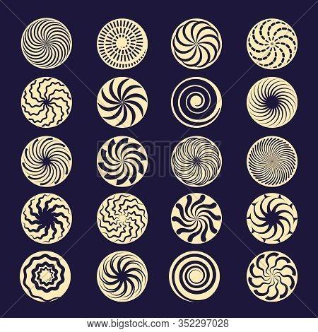 Hypnotic Spiral. Black Radial Motion Shapes Twirl Stroke Vector Elements. Hypnotic Circular Graphic,
