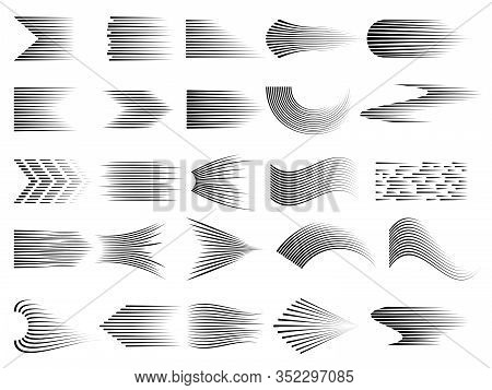 Speed Lines Collection. Gradient Comic Cartoon Digital Lines Of Speed Symbols Vector Signs. Illustra