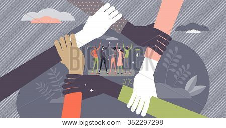 Teamwork Concept, Flat Tiny Persons Vector Illustration. Team Members Group Ready To Work And Reach