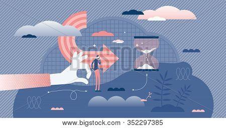 Motivational Push Concept, Flat Tiny Person Vector Illustration. Hesitation And Thinking Before Maki