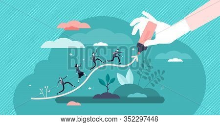 Chart Line Concept, Flat Tiny Businessman Persons Vector Illustration. Abstract Company Progress Gro