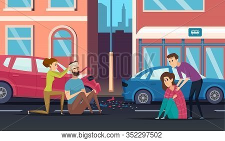 First Aid. Road Accident Personal Helping Person To Car Or Cycling Driver Medicine Vector Cartoon Ba