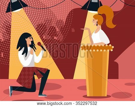 Talent Show Or Television Program Performance, Singer Audition In Broadcasting Studio With Woman Jud