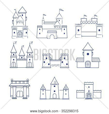 Castles. Medieval Old Buildings Ancient Old Tower Architecture Vector Line Drawn Pictures Collection
