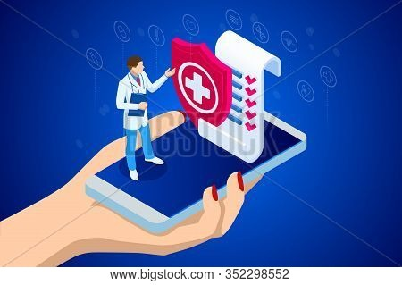 Isometric Online Medical Consultation. Health Care Concept. Health Insurance, Online Prescription. O
