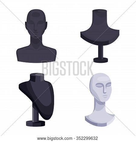 Vector Illustration Of Mannequin And Fashion Sign. Collection Of Mannequin And Form Vector Icon For