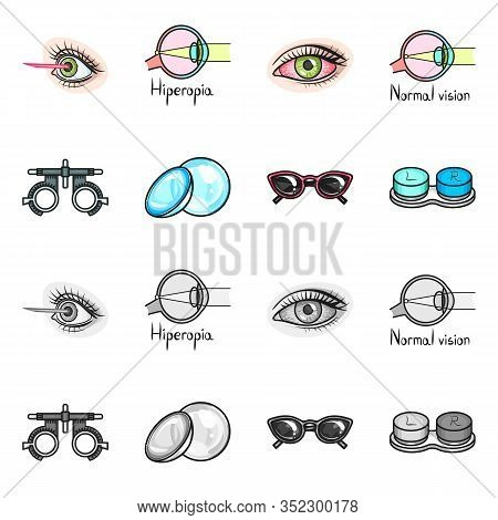 Vector Illustration Of Optometry And Medicine Logo. Collection Of Optometry And Diagnostic Stock Sym