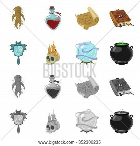 Vector Design Of Witchcraft And Mystic Symbol. Collection Of Witchcraft And Magic Stock Symbol For W