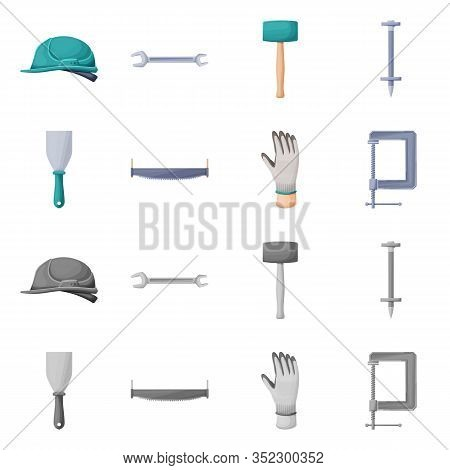 Vector Illustration Of Renovation And Household Logo. Set Of Renovation And Handicraft Stock Vector