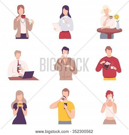 People Drinking Coffee Collection, Male And Female Characters Holding Tea Cups And Enjoying Of Hot D