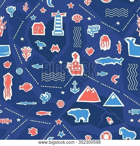 Sea Ocean Simple Styling Seamless Pattern Print. Two Color. Print For Kids T-shirt And Sea Style Sou