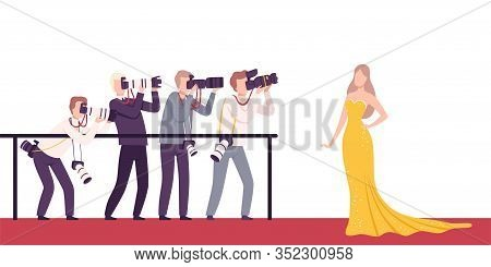 Celebrity Posing To Paparazzi, Photographers With Cameras Photographing At Movie Festival, Premiere,