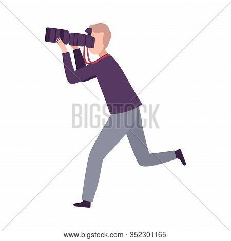 Running Paparazzi With Camera, Male Photographer Following Celebrity Flat Vector Illustration