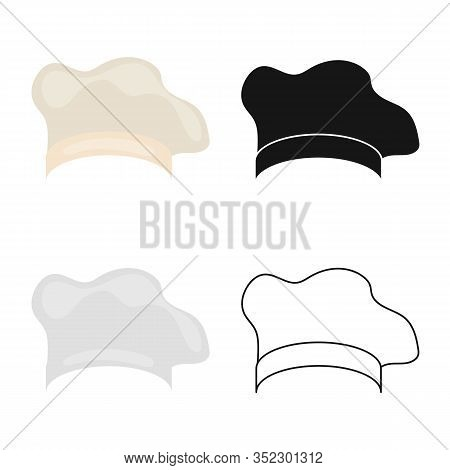 Vector Illustration Of Confectioner And Hat Logo. Set Of Confectioner And Chef Vector Icon For Stock