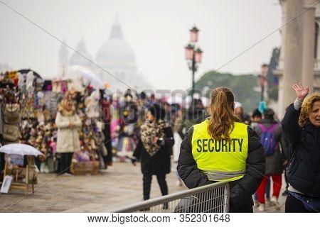 23 February 2020, Venice, Italy. Italian Security In The Venetian Streets.