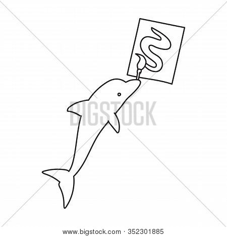 Dolphin With Brush Vector Icon.outline Vector Icon Isolated On White Background Dolphin With Brush .
