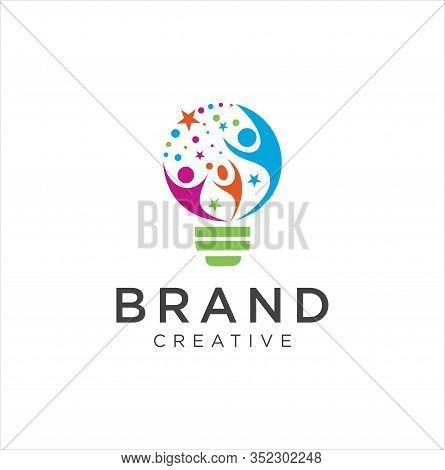 Bulb Family Logo . Creative Family Logo . Happy Family Logo Vector Illustration . Idea Creative Ligh