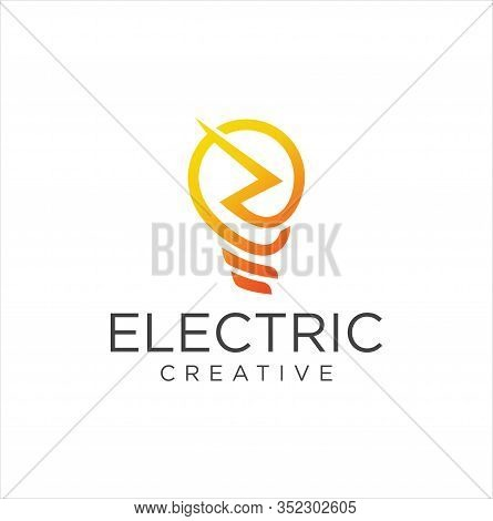 Electric Bulb Logo Icon Vector Design Stock Vector . Bulb Tech Logo . Digital Bulb Logo . Smart Bulb