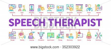 Speech Therapist Help Minimal Infographic Web Banner Vector. Speech Therapist Therapy, Alphabet And