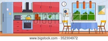 Kitchen. Interior With Furniture, Stove And Cupboard. Fridge And Table With Chairs, Kitchen Applianc