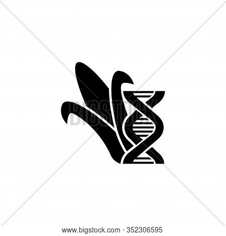 Genetically Modified Organisms Corn. Flat Vector Icon Illustration. Simple Black Symbol On White Bac