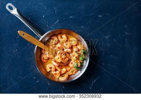 American Dish For The National Shrimp Scampi Day - Cooked With Garlic Butter Sauce Served With Lemon