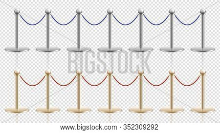 Rope Barrier. Realistic Silver Gold Steel Stands With Velvet Cords. Festival Or Theater, Cinema Or M