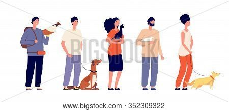 Pet Owners. Man Woman Hugging Pets. Isolated People With Cat Dog, Bird And Rat. Domestic Animals, St