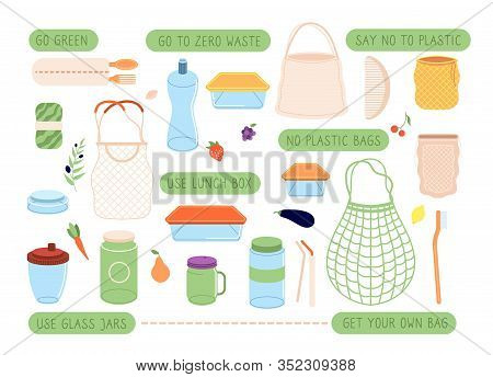 Zero Waste. Eco Lifestyle Stickers, Reusable Bags And Pack. Sustainability Cutlery, Hairbrush And Du