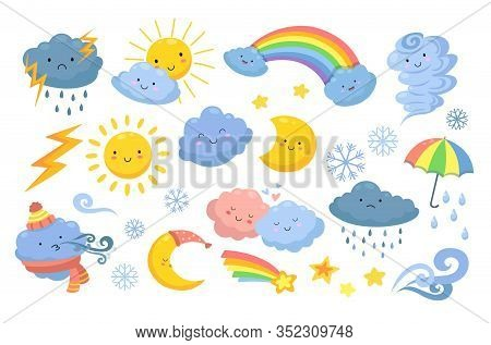 Cute Weather. Isolated Rainbow, Cartoon Rain And Hurricane. Funny And Angry Clouds, Happy Sun And To