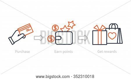 Earn Points. Benefits Program, Shopping Reward And Bonus. Customer Earning Gifts, Marketing Loyalty