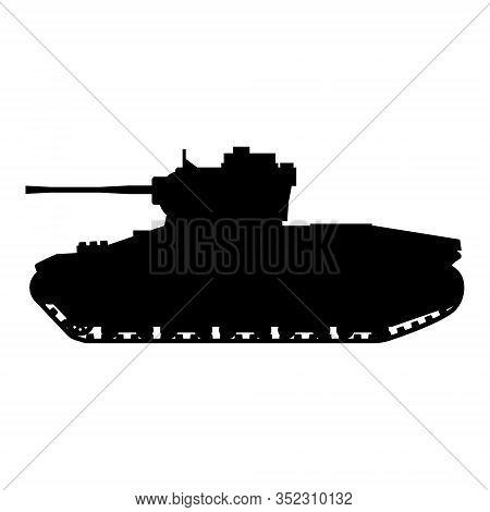 Silhouette Tank Infantry Mk.ii Matilda World War 2 Britain Tank Icon. Military Army Machine War, Wea