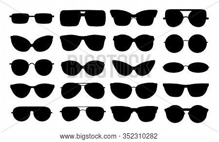 Glasses Silhouettes. Isolated Black Elegant Eyewear Set. Metal Plastic Spectacles Shapes. Vector Gee