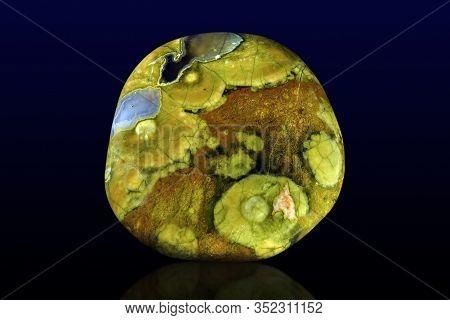 Polished Rhyolite ( Rainforest Jasper ) Stone Photo. Close Up