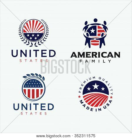 Set Of United States Logo Design Vector Stock . Made In Usa Logo American Flag . Usa Logo . American