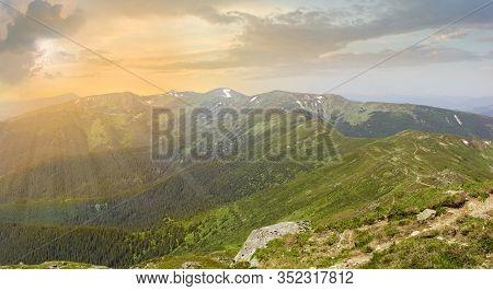 Mountain Chornohora Range In Summer At Sunset. Panoramic View From The Peak Pip Ivan, Carpathian Mou