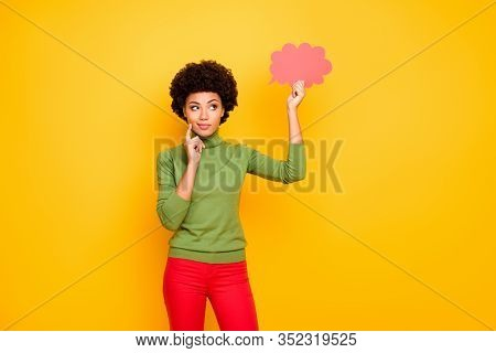 Photo Of Thinking Pondering Interested Woman In Red Pants Looking Into Pink Cloud Of Thoughts Thinki