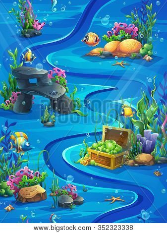 Fish Vertical Seamless - Vector Illustration Map Field. Bright Background Image To Create Original V